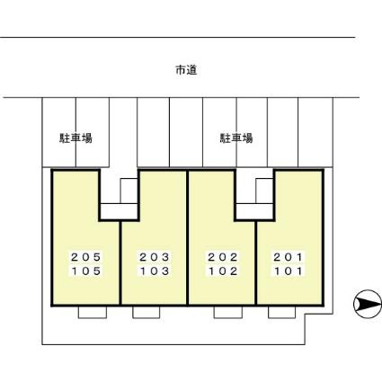 メゾンドール野添[2K/36.82m2]の配置図