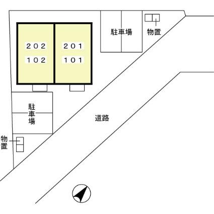 プレジオ将軍野[1LDK/36.6m2]の配置図