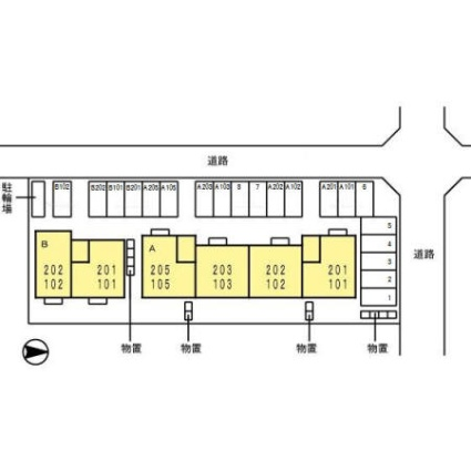 セジュールハミング B[2LDK/55.44m2]の配置図