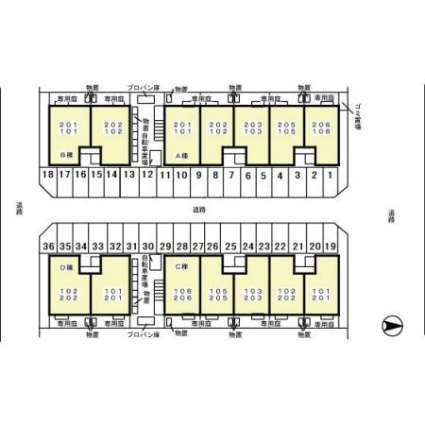 メモリー三千刈 C[1LDK/47m2]の配置図