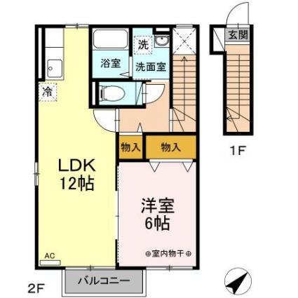 ルミエール・ユウ[1LDK/47.95m2]の間取図