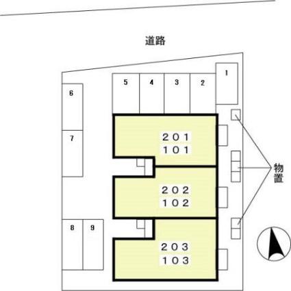エスポワールさち[2LDK/54.62m2]の配置図