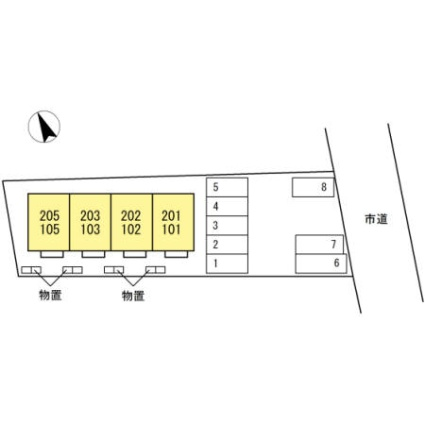 ローズシャルダン[2K/29.67m2]の配置図