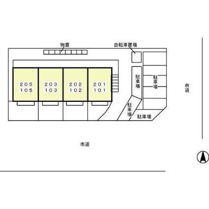 セジュール城東[2K/40.07m2]の配置図