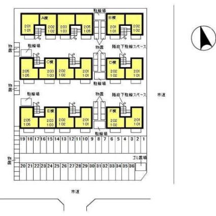 リビングタウン東通Ⅱ E[1LDK/42.07m2]の配置図