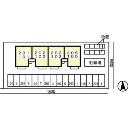 クレール一ツ森[2LDK/55.32m2]の配置図