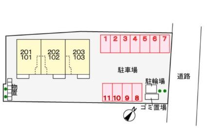 ベル・アンジュau Ⅳ[1LDK/48.19m2]の配置図