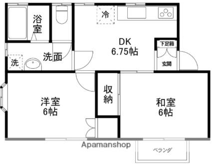 カームシバタ5B[2DK/42.23m2]の間取図