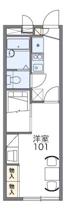 レオパレス天童館[1K/22.35m2]の間取図
