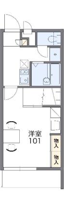 レオパレスクリスタル[1K/23.18m2]の間取図