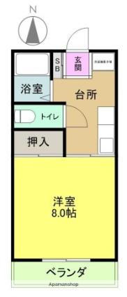 千代ハイツ[1K/26.44m2]の間取図