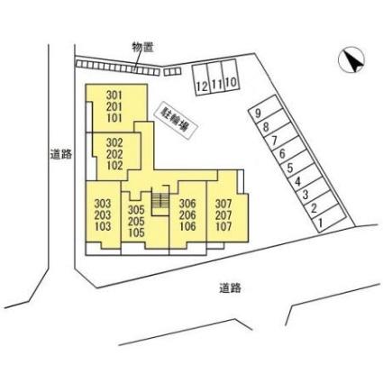 福島県福島市森合字川前[1LDK/46.94m2]の配置図