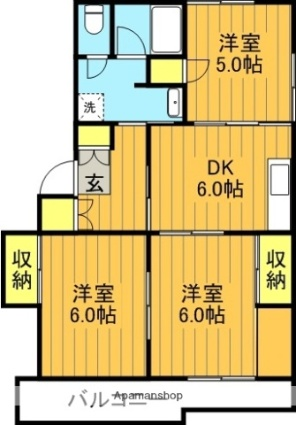 福島県郡山市菜根1丁目[3DK/53.16m2]の間取図
