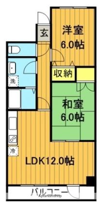 福島県郡山市昭和2丁目[2LDK/55.9m2]の間取図