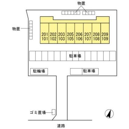 福島県郡山市安積町長久保2丁目[1K/29.81m2]の配置図