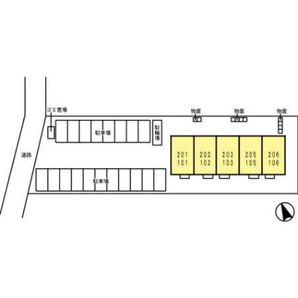 福島県郡山市七ッ池町[2DK/54.05m2]の配置図