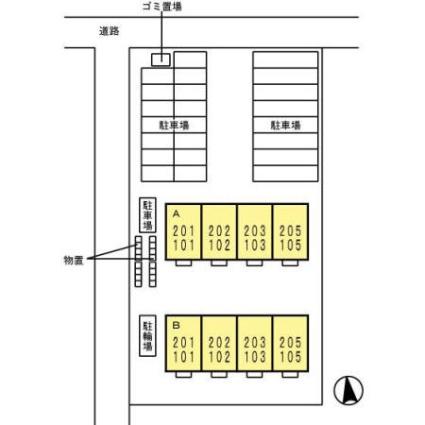 福島県郡山市図景1丁目[2DK/53.78m2]の配置図