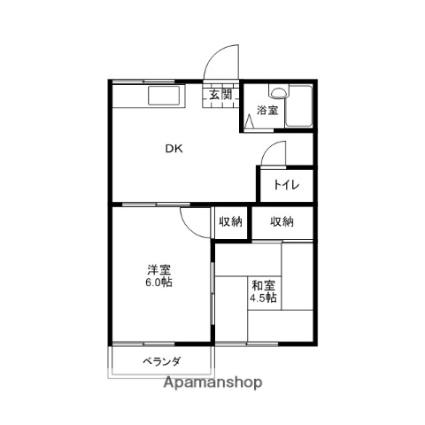 イーストハイツB棟[2DK/34.15m2]の間取図