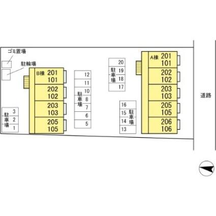 クヒオ[1K/30.27m2]の配置図