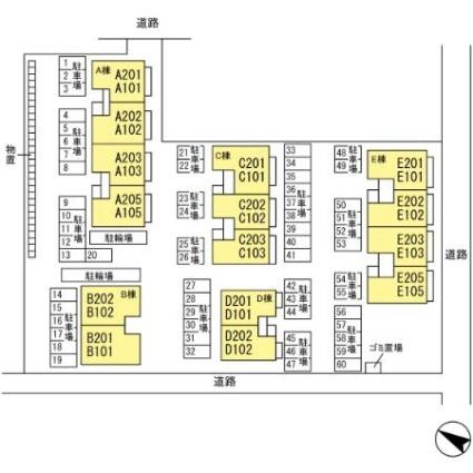シャインメモリー館 ABCDE[2LDK/59.58m2]の配置図