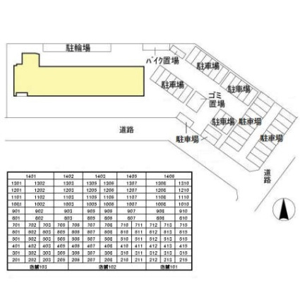 茨城県つくば市研究学園5丁目[1K/30.23m2]の配置図