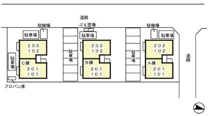 グランシャリオ ABC[2LDK/53.76m2]の配置図