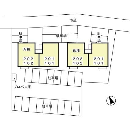 茨城県土浦市木田余西台[2LDK/54.44m2]の配置図