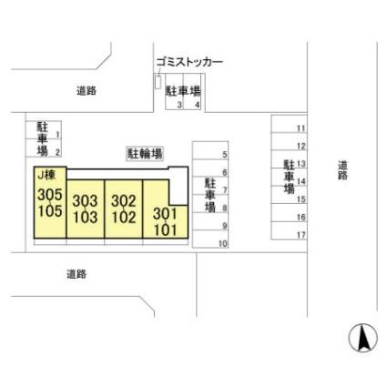 ゼピュロス学園の森 J[1LDK/45.04m2]の配置図