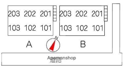 ル・プリオール B棟[2DK/44.55m2]の配置図