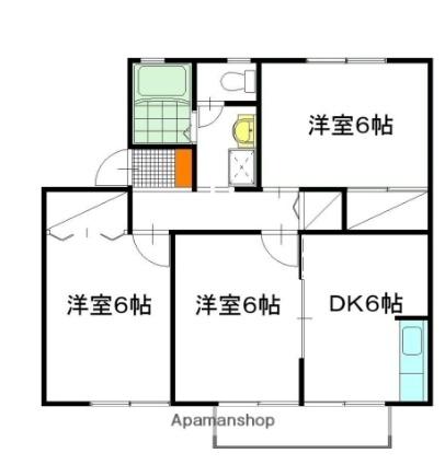 ソシア B棟[3DK/55.25m2]の間取図