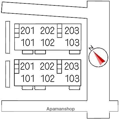 ソシア B棟[3DK/55.25m2]の配置図