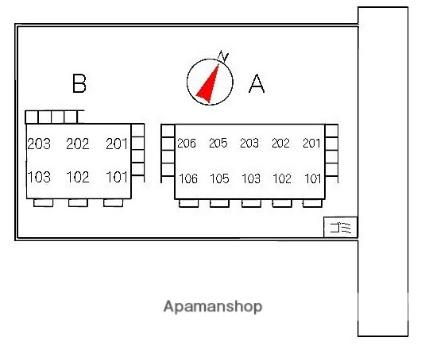 ハイツ沙羅 A棟[1K/27.08m2]の配置図