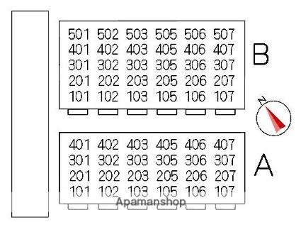 堂端コーポ A棟[2DK/44.55m2]の配置図