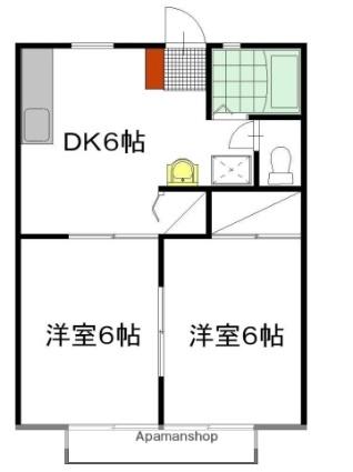 パナハイツ川崎 B棟[2DK/40.92m2]の間取図