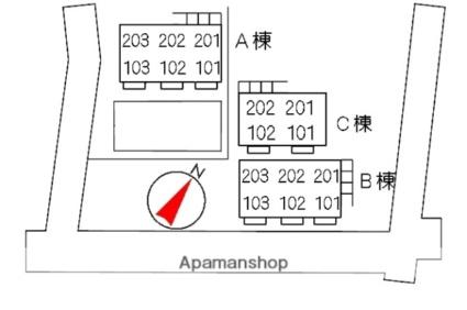 パナハイツ川崎 B棟[2DK/40.92m2]の配置図