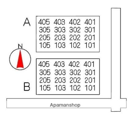 笹野ロイヤルハイツ A棟[2LDK/63.5m2]の配置図