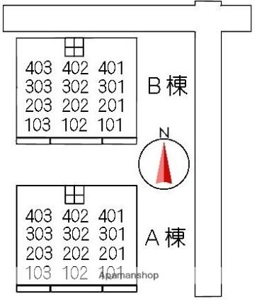 グランドール大山 B棟[3DK/60.47m2]の配置図