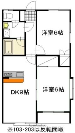 グランコート西原 A棟[2DK/47.2m2]の間取図