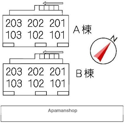 グランコート西原 A棟[2DK/47.2m2]の配置図