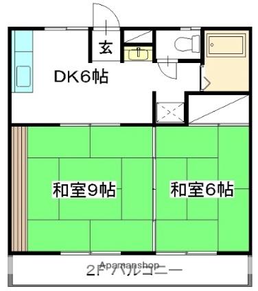 1番館[2DK/42.51m2]の間取図