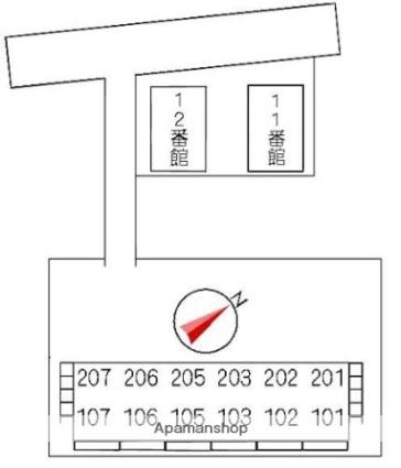 1番館[2DK/42.51m2]の配置図