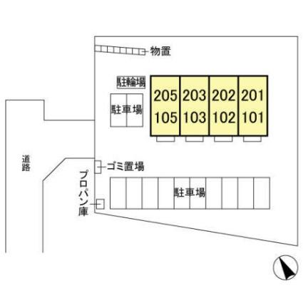 栃木県宇都宮市平出町[1LDK/36.52m2]の配置図