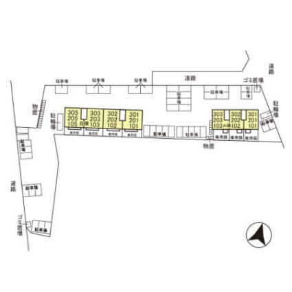 栃木県宇都宮市細谷町[2LDK/54.26m2]の配置図