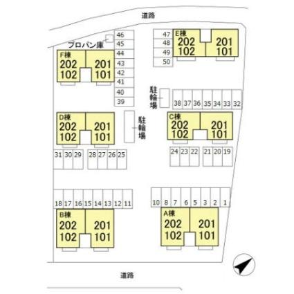 栃木県宇都宮市野沢町[2LDK/55.2m2]の配置図