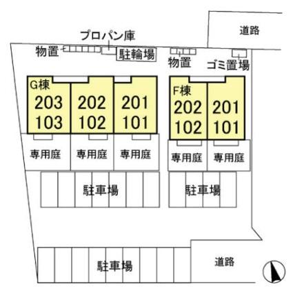 栃木県宇都宮市細谷町[1LDK/55.29m2]の配置図