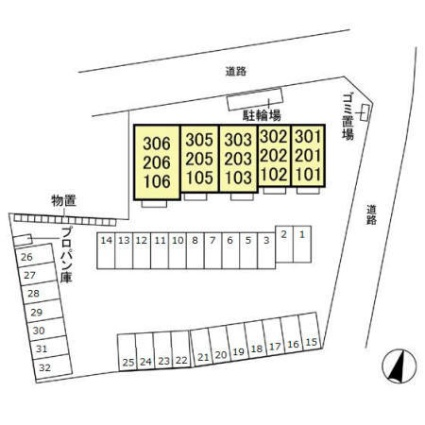 栃木県宇都宮市宝木町1丁目[1R/35.87m2]の配置図
