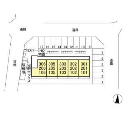 栃木県宇都宮市鶴田町[1LDK/33.39m2]の配置図