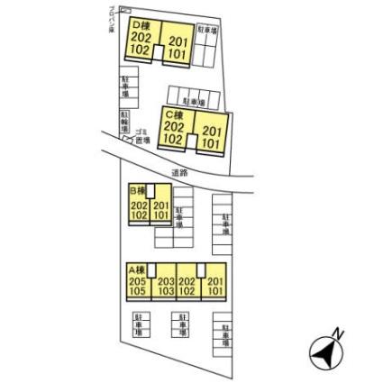 栃木県宇都宮市駒生町[1LDK/45.42m2]の配置図