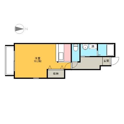 ブルーベリーヒル[1K/32.9m2]の間取図