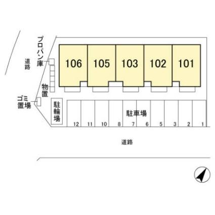 栃木県宇都宮市ゆいの杜2丁目[2LDK/69.19m2]の配置図